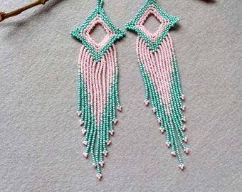 Long Fringe Earrings, Lavender and Mint Green, Long Earrings,  Seed Bead Earrings, Beaded Earrings, Boho Earrings,    Valentine's Day Gift