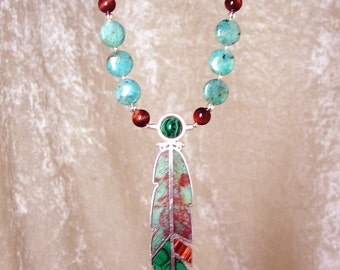 SYLVAN EARTH- OOAK Reversible Feather Necklace in Cuprite, Malachite, Red Tiger Eye, and Sterling Silver