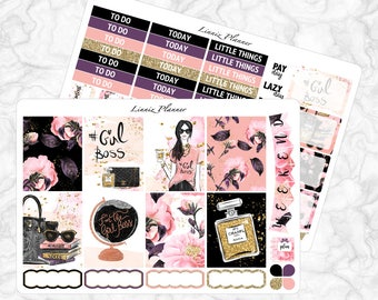 Girl Boss Little Weekly Kit (matte planner sticker, fits perfect in Erin Condren Life Planner Vertical)