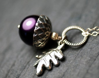 "Purple Glass Pearl Acorn Oak Leaf Sterling Silver Necklace - ""Sylvan Wood"""