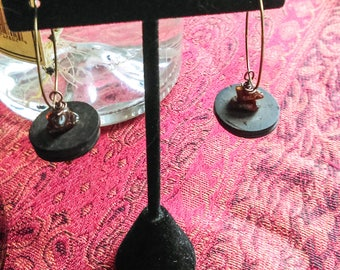 Kokosnuss-Ohrring-Bernstein und Kokosnuss Reifen Ohrring Naturelemente Ohrring Bronze Hoop Ohrring böhmischen Schmuck