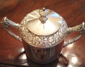 Rogers Smith Quadruple 1987 Silver Plate Sugar Bowl -antique