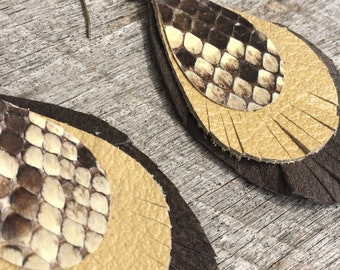 Leather and Snakeskin Earrings in Brown and Flax - Fringed Feather Ovals on Antique Brass Hooks by Stacy Leigh