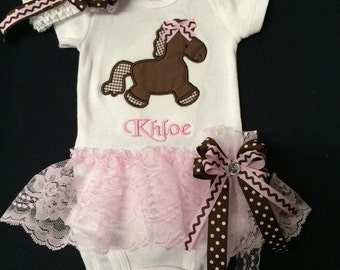Newborn Baby Girl Monogramed  Horse Bodysuit with Attached Lace Ruffle Tutu Skirt Baby Girl Clothes Matching Headband. Coming Home Outfit