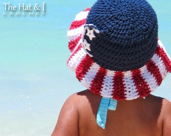 CROCHET PATTERN - Stars & Stripes - crochet flag hat pattern, 4th of July hat, sun hat in 4 sizes (Toddler - Adult) - Instant PDF Download