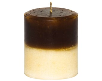 Decorative Chocolate Vanilla Pillar Candle - Handmade - 14 oz  - 397 grams