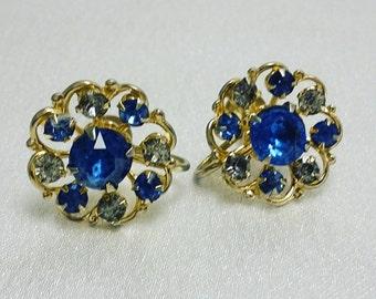 Vintage Coro Rhinestone Gold Screw Back Earrings