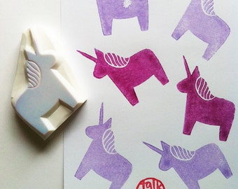 unicorn stamp | dala horse rubber stamp | diy fairytale birthday christmas card making | gift for girls | hand carved by talktothesun