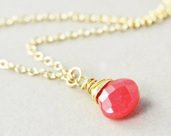 Cherry Jade Pendant Necklace, Raspberry Drop Necklace, Bridesmaid Gift