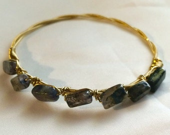 Guitar String Bangle with Iolite beads
