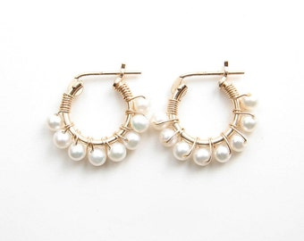 June Birthday ~ Small Pearl Hoop Earrings ~ 14K GF Hoop Earrings ~ Wire Wrapped Freshwater Pearls ~ Simple Modern Jewelry by PetitBlue