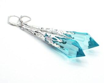 Long Blue Earrings, Long Silver Earrings, Blue Dangle Earrings, Blue Drop Earrings, Statement Earrings, Blue Crystal Earrings
