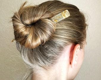 Blue Acrylic Hair Stick With Gold Leaf Crystal Bun Holder Sea