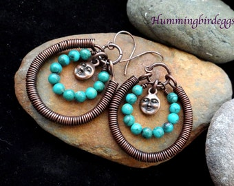 Dangle Wire wrap hoop earrings turquoise and copper moon charm unique boho earrings with turquoise and oxidized copper great gift for her