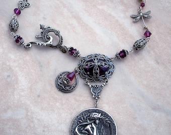 Silver Art Nouvaeu Necklace Alphonse Mucha Necklace Dragonfly Necklace Purple Necklace Swarovski Crystal Celestial fantasy jewelry
