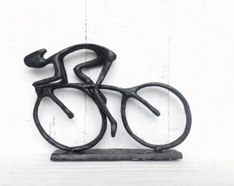 Champion Cyclist Cast Metal Bike Racer Statue-In Rustic-Bicyclist Decor-Bicycle Art-Shelf Decor-Cast iron Bike-Modern Home Decor-DAD