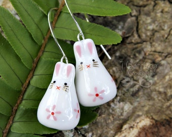 Sweet Bunny Rabbit earrings - painted ceramic bunny beads with pink flower on silver earwires -Free Shipping in USA
