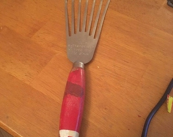 Vintage A & J Batter Beater, USA Curved to fit the bowl, red wood handle