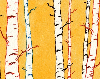 ACEO Print, Limited Edition, ACEO Art, ACEO Card, Tiny Art, Miniature Art, Forest, Affordable Art, Woodland, Birch Trees, Gift Under 5