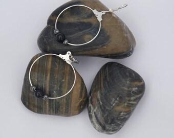 Earrings large hoops semi-precious beads