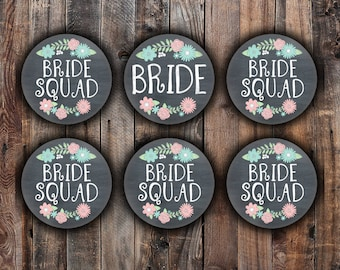 Chalkboard style Bride and Bride Squad pins, 2.25 inch, for bachelorette, shower, wedding with peach green and blue