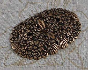 LuxeOrnaments Oxidized Brass Baroque Filigree Floral Focal (Qty 1) G-8266-2-S