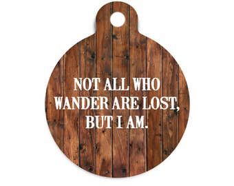 Not All Who Wander Dog Tag for Dogs, Faux Wood Pet Id Tag, Trendy Dog Tag, Faux Wood Cat Tag, Modern Dog Tag, Collar Tag for Dogs, Name Tag