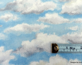 One half Yard Cut Quilt Fabric, Storm Clouds Forming in a Blue Sky by Westhills Designs for River Woods, Sewing-Quilting-Craft Supplies