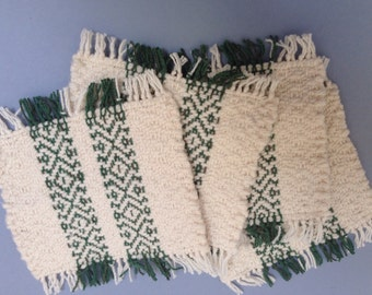 Handwoven mug mats, natural with dark green stripes, set of 4