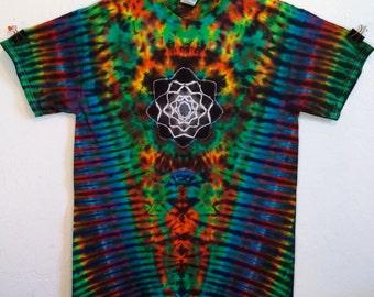 Tie Dye Mandala Psychedelic V Rainbow T-Shirt (Custom Made)!