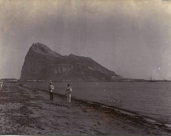 Rock of :Gibraltar soldier on shore antique photo