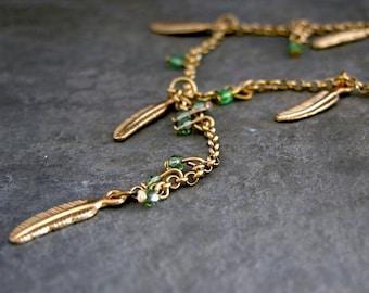 Peridot Necklace, Gold Delicate Feather Peridot Necklace, Gold Necklace, Green Crystal Necklace, August Birthstone, Peridot Jewelry