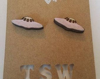 UFO Wood  Laser cut and Laser Engraved Stud Earrings