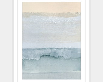 Abstract watercolor art print, abstract painting beach house decor, blue ocean colors modern wall art