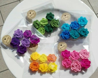 """6 pcs Flowers - Rose Felt """"Hand Made"""" 25mm in different colors"""