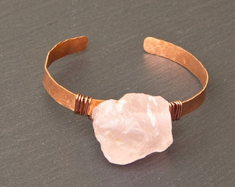 Crystal cuff, rose quartz cuff, raw rose quartz, crystal bracelet, crystal jewelry, rose quartz bracelet, rose quartz  jewelry