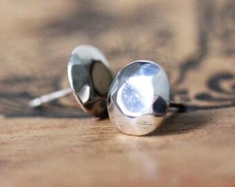 Modern Rock Brilliant Studs, brilliant cut round sterling silver earrings, gemstone alternative stud earrings, gift for moms, gift for women