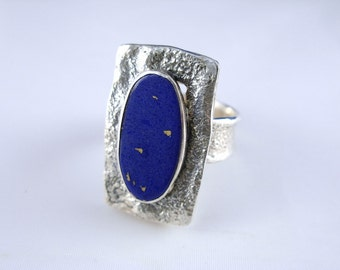Lapis in Texture Silver Ring - ElenadE