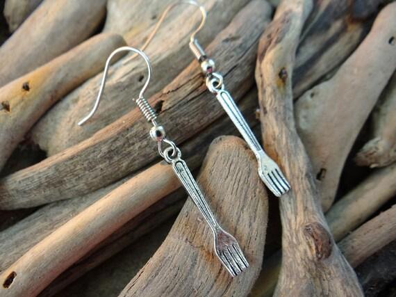 Tiny Little Fork Earrings I'm Really A Mermaid Earring Ear Ring Rings Drops Drop Dangle Miniature Miniatures Dollhouse Dollshouse Doll House