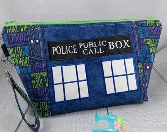Tardis Bigger On the Inside Doctor Who - Knitting Project Bag - Crochet Bag