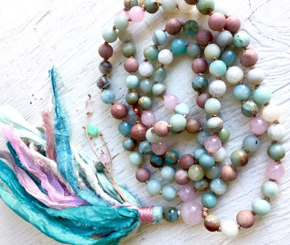 Heart Chakra Mala Beads - 108 Rose Quartz Mala Beads - Aquamarine Prayer Beads - Amazonite & African Opal Mala Necklace - Throat Chakra Mala