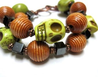 Day Of The Dead Bracelet Sugar Skull Jewelry Green 2 Strand