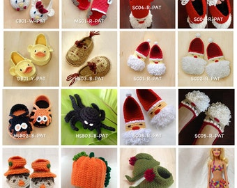 Crochet Pattern Any 10 for USD43 | Crochet Pattern Baby Booties Preemie Shoes Newborn Socks Home Slipper Baby Accessories Clothing Tutorial