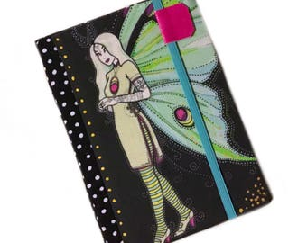 Kindle paperwhite cover - Luna moth fairy - hardcover ereader case for kindle touch - ooak case - tech accessory mint and black