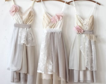 Custom Bridesmaids Dresses in Neutrals with Contrasting Accents