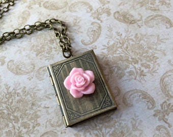 Fairytale Book Locket with Pink Rose