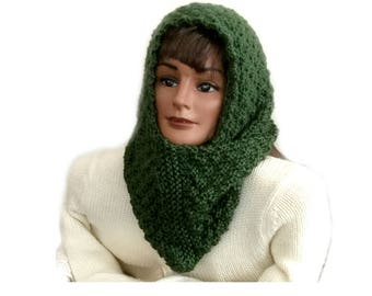 Womens knit scarf, funky infinity scarf, hand knit scarf, women's green scarf, cowl neck scarf, women's head scarf, neck warmer, wool scarf