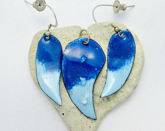 Dichroic Enameled Pendant and Earring Set