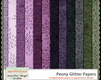 Instant Download - Set of 12 digital papers - Peony Glitter Papers