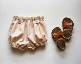 Beige Cotton Infant and Toddler Bloomers, Handmade by Papoose Clothing